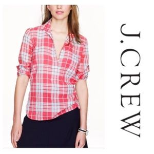 J CREW Factory Gauze Popover in Red Plaid
